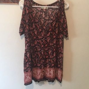 Open shoulder urban outfitters printed dress